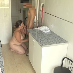 Very experienced blowjobs. Mayra makes her neighbours' son his first blowjob
